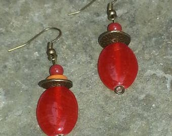 Gypsy - earring earring red pendant - earring glass bead - bronze dangle earring