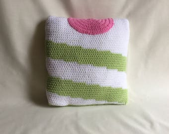 Twister ice cream decorative cushion, hand crocheted