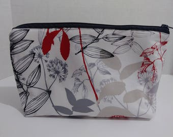 Large leaf print cosmetic bag