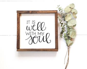 It is well with my soul sign |  framed wood sign, hand painted, hymn sign, rustic wood sign, home sign, farmhouse decor