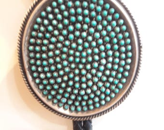 Vintage Native American Zuni Handmade Sterling Petite Point Turquoise Bolo Tie