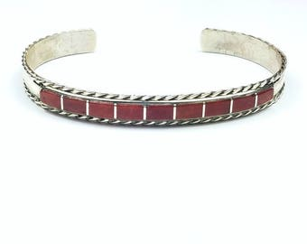 Native American Zuni handmade Sterling Silver channel inlay Spiny Oyster cuff bracelet