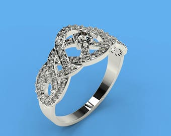 0.1 cts Moissanite Engagement Ring with 72 Natural Diamond Accent Stones 0.3 ctw 14K White Gold  Ring