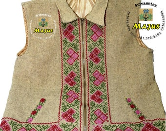 Handmade wool vest hand - embroidery free shipping