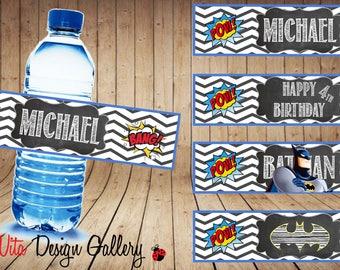 Personalized Bottle Labels | Batman Water Bottle Labels | Superheroes Labels | Party Labels | DIY | Printable Labels | Party Decor Labels