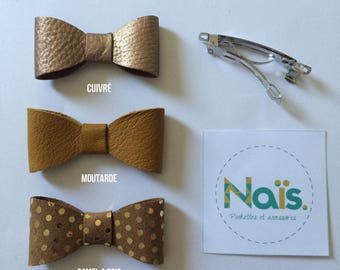 Mustard or camel copper leather bow hair clip