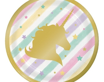 "8Ct 7"" Foil Stamped Unicorn Paper Plates, Unicorns, Paper Plates, Unicorn Party, Unicorn party decorations, party, party decor, party supply"
