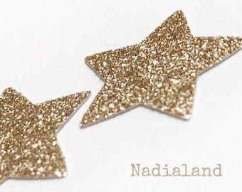 40 stars in cardboard glitter gold/decorations for parties/stars Glitter/scrapbooking/Confetti/decorating accessories/Gold/Glitter