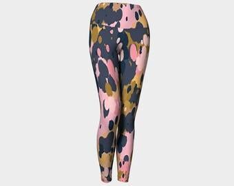 Splatter pink, gold and slate Yoga Leggings, Women's Yoga Leggings, Leggings, Yoga Leggings, Yoga Pants, Printed Leggings, Gift for her