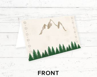 Forest Mountains Baby Shower, Bridal Shower, Birthday Party, Wedding Printable Blank Food Label Tent Cards, Camping Tribal, Instant Download