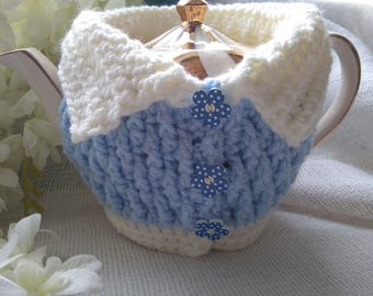 Hand Crocheted Tea Cardigan Blue/Cream