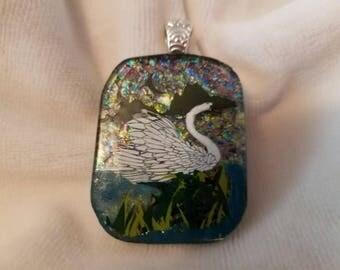Dichroic Glass Pendant - Swan on Mountain Lake