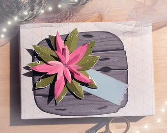 Paper Cut Art - Paper Cutting Art // 6 Handmade Christmas Tags - Pink Poinsettias