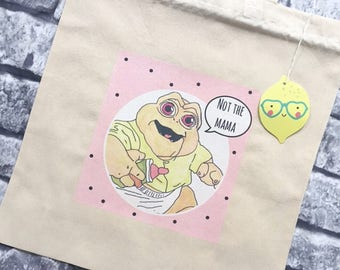 90s tv show Baby Sinclair Dinosaurs hand illustrated natural cotton tote bag.