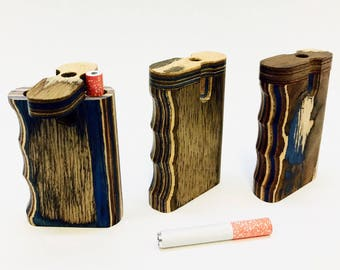 3 inch tall - Handmade Wooden Grip Dugout One Hitter - No Two Alike! Smooth Finish, Vibrant, High Quality Multicolored Woodgrain