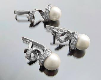 Womens gift|for|her gift Vintage Wedding set Vintage earrings pendant Pearl earrings Silver earrings Wedding earrings Vintage jewelry set