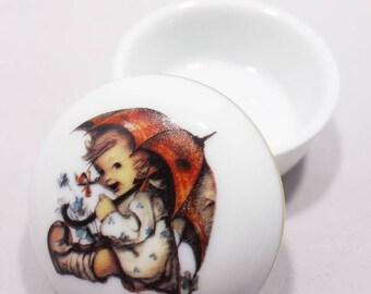 Vintage M.J  Hummel Umbrella Girl Porcelain Trinket Box China Keepsake Box Collectible Hummel Ring Box