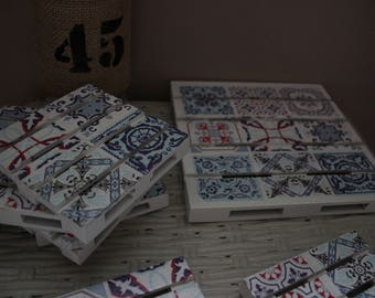 Bottom of dish and coasters way cement tiles together