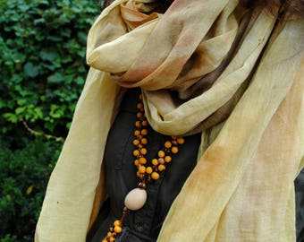 SUN | handpainted organic cotton voile shawl