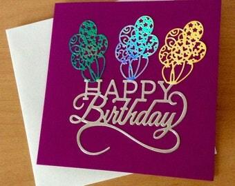 Handmade birthday card, Purple greetings card, Embellished card, Unisex birthday card