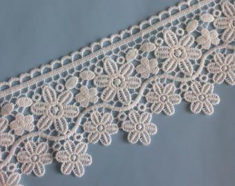 "4"" Guipure Lace trim, light ivory, price per metre"