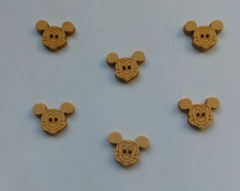 wood button gross Mickey head