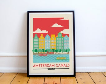 Amsterdam Canals Poster - Amsterdam Skyline Wall Art Print - Amsterdam Wall Home Decor | Travel Poster