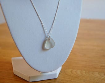 White Sea Glass Necklace on Silver Chain - Amble, Northumberland