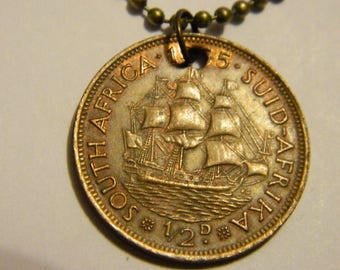 1955 South Africa Half Penny Coin Pendant & Chain Necklace Dromedaris Sailing Ship Jewelry Chocolate Patina