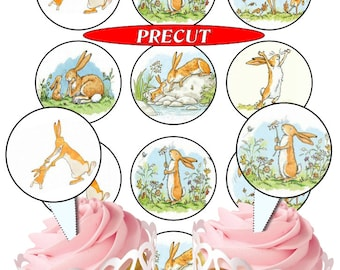 Guess How Much I Love You pre-cut edible  cupcake toppers, 2 sizes, 4 choices