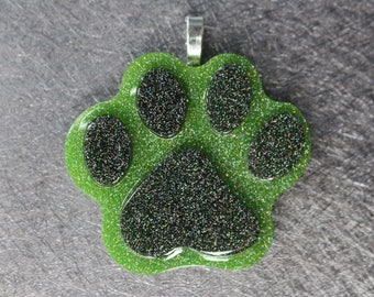 Iridescent Glitter Resin Paw // Necklace // Resincharm // Charm // Green and Black