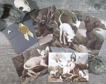 Sphinx Cat Pack - Prints Postcards 5x7 - Realistic Animal Art - Hairless Naked Feline Rex - Imaginative Realism - Fantasy - Gift Set - Decor