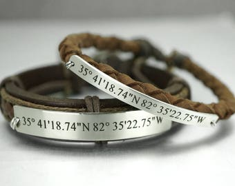 Coordinate Bracelets, Couples Bracelet, latitude longitude, Long Distance Relationship, Matching Couple, Engraved Bracelet, His and Her