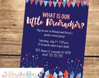 PRINTABLE 4th of July Gender Reveal Invitation - Custom Gender Reveal Invitation - Firecracker - Red, white & blue - 4x6 or 5x7