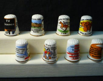 Thimbles Historic Days in June Set of 8 Commemorative  Birchcroft Fine Bone China Thimbles