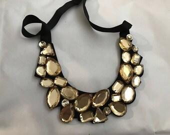 Collar with gold on black acrylic rhinestones