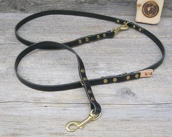 Handsfree Leather Dog Leash, Training Dog Leash, Long Dog Leash, Custom Lenght, Handmade Leash, Black Leash, Adjustable Leash, Walking Lead