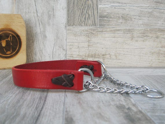 Martingale Dog Collar, Red Dog Collar, No Pull Leather Dog Collar, Chain Dog collar, Colorful Dog Collar, Classic Half Choke Dog Collar