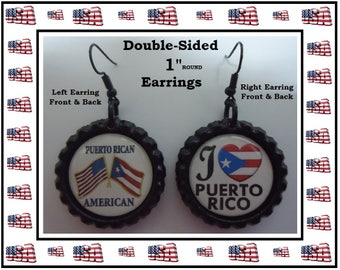 Puerto Rican American Earrings Double Sided Images On Both Sides I Love Puerto Rico Earrings I Love America Earrings Show Ur Support Latinos