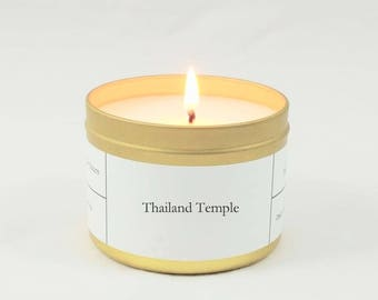 Thailand Temple Soy Candle | Scented Candle | Gold Candle Tin | Unique Gift | Sandalwood and Cedar | Woodsy Candle Scent