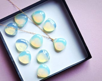 Mermaid Necklace, Opalite Necklace, Gold Necklace, Crystal Necklace, Opalite Pendant, Dainty Necklace, Delicate Necklace, Bohemian Necklace