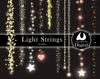 Light strings clipart Lights clipart String clipart Wedding lights Strings Wedding clipart Christmas clipart Fairy string Valentine's day