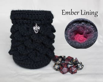 Dragon Dice Bag with Black and Red Lining - Dragon's Egg Pouch - Crochet Coin Purse - DnD