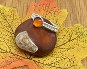 Beautiful Amber stone on gorgeous double, beaded silver ring, Size M, Beautiful Amber Ring, Handmade silver Amber ring, Amber ring