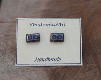 SALE!!! Tiny 80's Retro Tape Cassette stud earrings, handmade and quirky