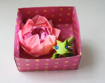 Water lily and Green Frog No. origami box 4