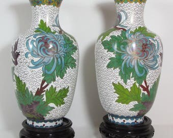Pair of cloisonné Chinese vases