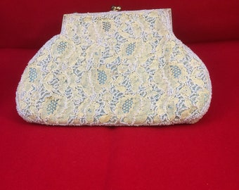 Dainty vintage evening bag/clutch/purse. Palest blue beads on cream coloured lace. Chain missing. Girlie. Retro.