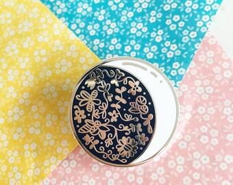 Floral Moon - Hard enamel pin - kawaii accessories, cute enamel pin, moon lapel pin, crescent moon enamel pin, moon pin cute moon enamel pin