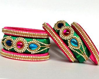 Silk Thread Bangles / Indian Bangles with Kundan Work